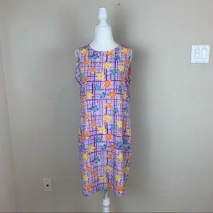 ASOS 60s Style Floral Shift Dress Purple Size L